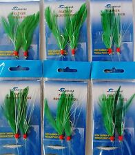 6 Packs 3/0 Rock Cod Feather Rigs Green Rockfish Bait Lure - 2 Rigs per pack