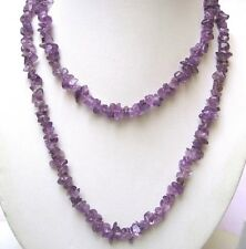 BEAUTIFUL 36 INCH LONG NECKLACE OF UNCUT TUMBELED NUGGETS OF AMETHYST GEMSTONE