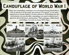 Palau 2015 MNH Camouflage First World War WWI 5v M/S Tanks Ships Sopwith Stamps
