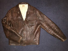 RARE ORIGINAL LEVIS TYPE 2 LEATHER JACKET BIG E SHORT HORN BIKER 50s M SUPERB
