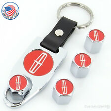 Lincoln Red Logo Chrome Tire Stem Valve Caps + Wrench Key Chain