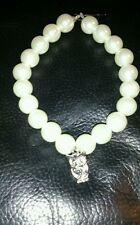 hand-made bracelet -12mm white glass pearl beads With owl charm- girls/ladies