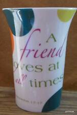 "Tall Bone China Mug Common Grounds ""A Friend Loves at All Times"" Proverbs 5"""