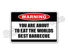 "*Aluminum* Worlds Best Barbecue Warning 8"" x 12"" Funny Metal Novelty Sign   NS"