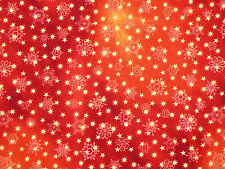 """10"""" REMNANT LOVE & PEACE  CHRISTMAS STARS SNOWFLAKES QUILTING 100% COTTON FABRIC"""