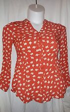 mod cloth red button up long sleeve elephant womens blouse