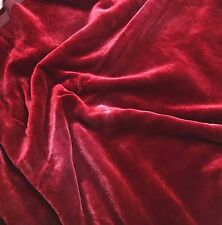 """Hand Dyed Silk VELVET Fabric Ruby Red fat 1/4 18""""x22"""" remnant"""