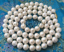 "P1466 - AAA 30"" 8-9mm natural white round freshwater pearl necklace -14k gold"