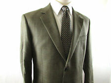 Pronto Oumo 52% Silk 48% Wool Green Windowpane Plaid Sportcoat Blazer Men's 42R