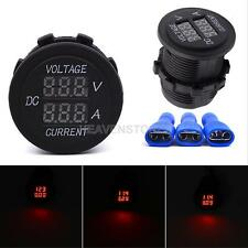 Car Motorcycle DC 12V 24V LED Display Digital Waterproof Ammeter Voltage Meter