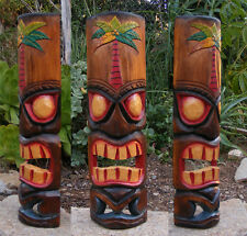 Hawaiian Palm Tree Tiki  Wood Wall Mask Patio Tropical Bar Decor 20""