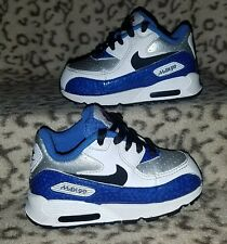 NIKE AIR MAX 90 BABY TODDLER SHOES SIZE 5C WHITE SILVER BLUE SNEAKERS 317053-108