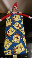 Homemade Doll Clothes-COOL SPONGE BOB Print Sleeping Bag for Ken,Barbie,Elf Doll
