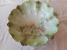 RS Prussia Style Bavaria White Roses & Pale Green Master Berry Serving Bowl 1934