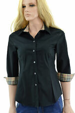 $275 BURBERRY London Black Nova Check 3/4 Sleeve Women's Shirt Size XS
