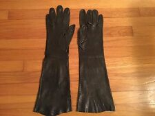 Long Elbow Length Black Leather Vintage Gloves Small