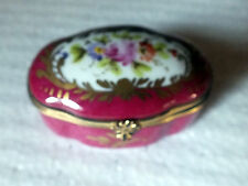 Vintage Limoges France Porcelain Fait Main Trinket / pill box flower design