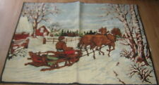 "VINTAGE PRIMATIVE 40""x54"" RED BARN WINTER BOBSLED SLEIGH HORSES Made in Belgium"