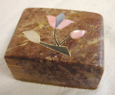 Indian Marble Box with Shell inlaid featuring floral pattern on top lid