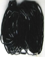 "Deep Black Vintage Glass Shiny Tube Bugle Beads Long 20""Strands Full Hank 3.5bpi"