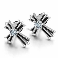 Round Cubic Zirconia Stainless Steel Vintage Cross Men's Women's Stud Earrings