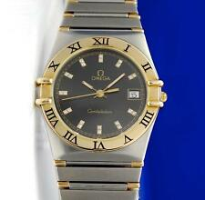 Mens Omega Constellation 18K Gold & SS Watch - Black Diamond Dial