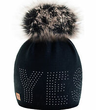 Women Winter Beanie Hat Wool Knitted YES Ladies Fashion Large Fur Pom Pom