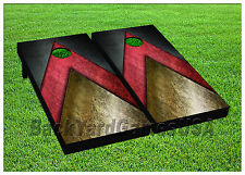 CORNHOLE BEANBAG TOSS GAME w Bags Game Boards Black Red Gold Set 844