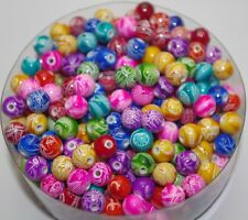 100pcs Graffiti Mixed Color Acrylic Beads Round Spacer Beads 8mm DF756