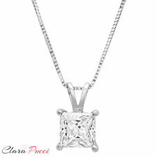 """1 CT Simulated Princess Cut 14K White Gold Pendant Necklace + 16"""" Chain"""