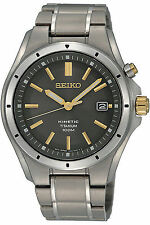 NEW SEIKO SKA495P1,Men's KINETIC,TITANIUM,DATE,100M WR,BRAND NEW,SKA495