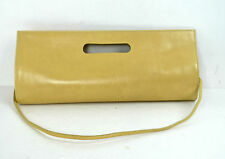 LAZARO BROWN GENUINE LEATHER EVENING CLUTCH / SHOULDER HANDBAG MADE IN ARGENTINA