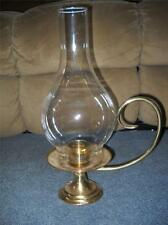 Brass Hand Carry Weighted Candle Holder w Large Tall Crystal Clear Glass Chimney