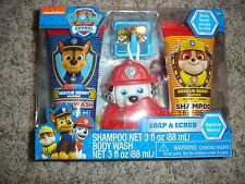 NEW Paw Patrol Marshall dog Soap & Scrub set Shampoo body wash & bath scrubby