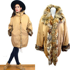 Vintage Dyed Shaggy Real Fur Jacket Feathery Wadded Winter Parka 80s Coat Cape M