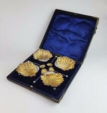 Edwardian STERLING SILVER Gilt SHELL SALT CELLARS Birmingham 1902 Cased