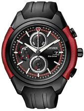 Citizen Eco-Drive Red Black Mens Chronograph Watch. Add some colour. CA0287-05E