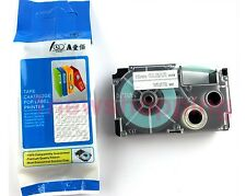 Great quality Compatible for Casio Tape 12mm White on Clear Label  XR-12AX1