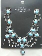BNWT ZARA TURQUOISE JEWELLED NECKLACE BLOGGERS' FAVOURITE