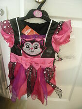 M&S FANCY DRESS GIRLS HALLOWEEN CAT WITCH DRESSING UP OUTFIT AGE 12-24months NEW