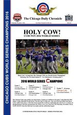 """2016 WORLD SERIES CHAMPIONS CHICAGO CUBS HEADLINES POSTER HOLY COW! - 12"""" X 18"""""""