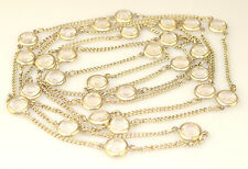"""ANTIQUE ART DECO FLAPPER LENGTH 72"""" LONG NECKLACE WITH CLEAR FACETED STATIONS"""