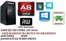 Desktop PC AMD Quad Core a8 7600 3.8ghz x4, Grafica Radeon r7, 4gb di RAM, unità disco rigido da 500gb