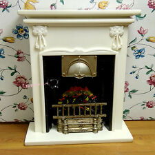 Dollhouse Miniature 1:12 Furniture Wooden Cream-colored Fireplace H14cm SPO389