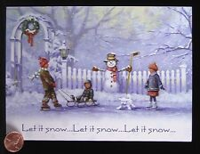 Christmas Snowman Children Playing Puppy Dog Sled Skating Greeting Card UNUSED