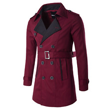 Mens Double Breasted Trench Jacket Coat Lapel Collar Peacoat Outwear Belt 4Color