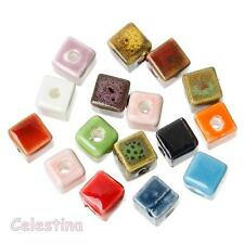 20 Ceramic Cube Beads 8mm Square Clay Porcelain Mixed Beads Cubes Spacer 8mm
