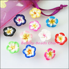 12Pcs Mixed Handmade Polymer Fimo Clay Flower Spacer Beads Charms 12mm