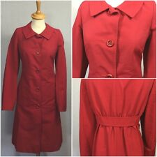 Di Vita Ladies Red 50s Vintage Peter Pan Collar Fitted Rain Coat Mac UK 10/12