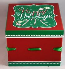 Colorful Hard Cardboard Covered Paper Ribbon Christmas Gift Box Holiday Decor
